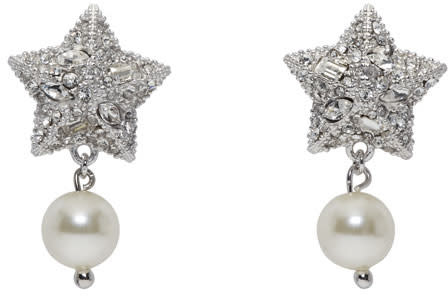Miu Miu Silver Crystal and Pearl Star Earrings