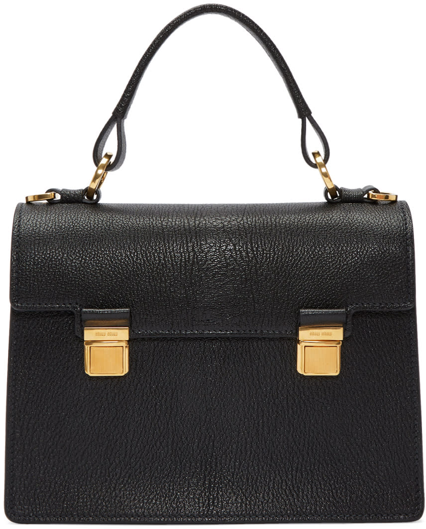 Image of Miu Miu Black Double Lock Bag