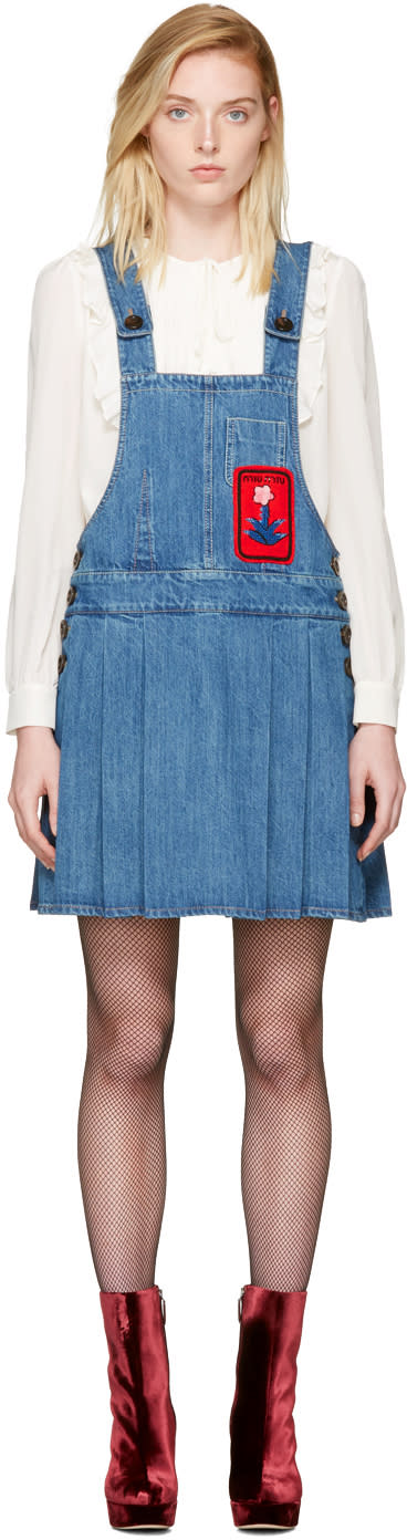 Miu Miu Indigo Denim Patch Jumper Dress