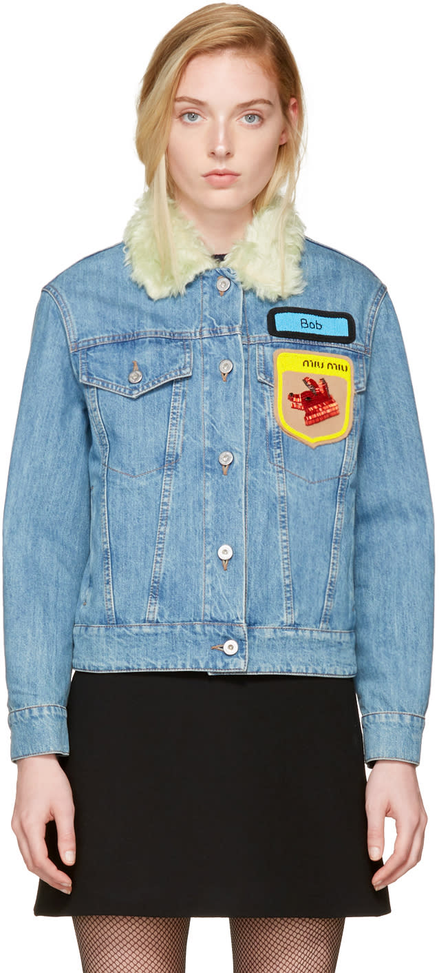 Miu Miu Blue Denim Fox and Bob Jacket