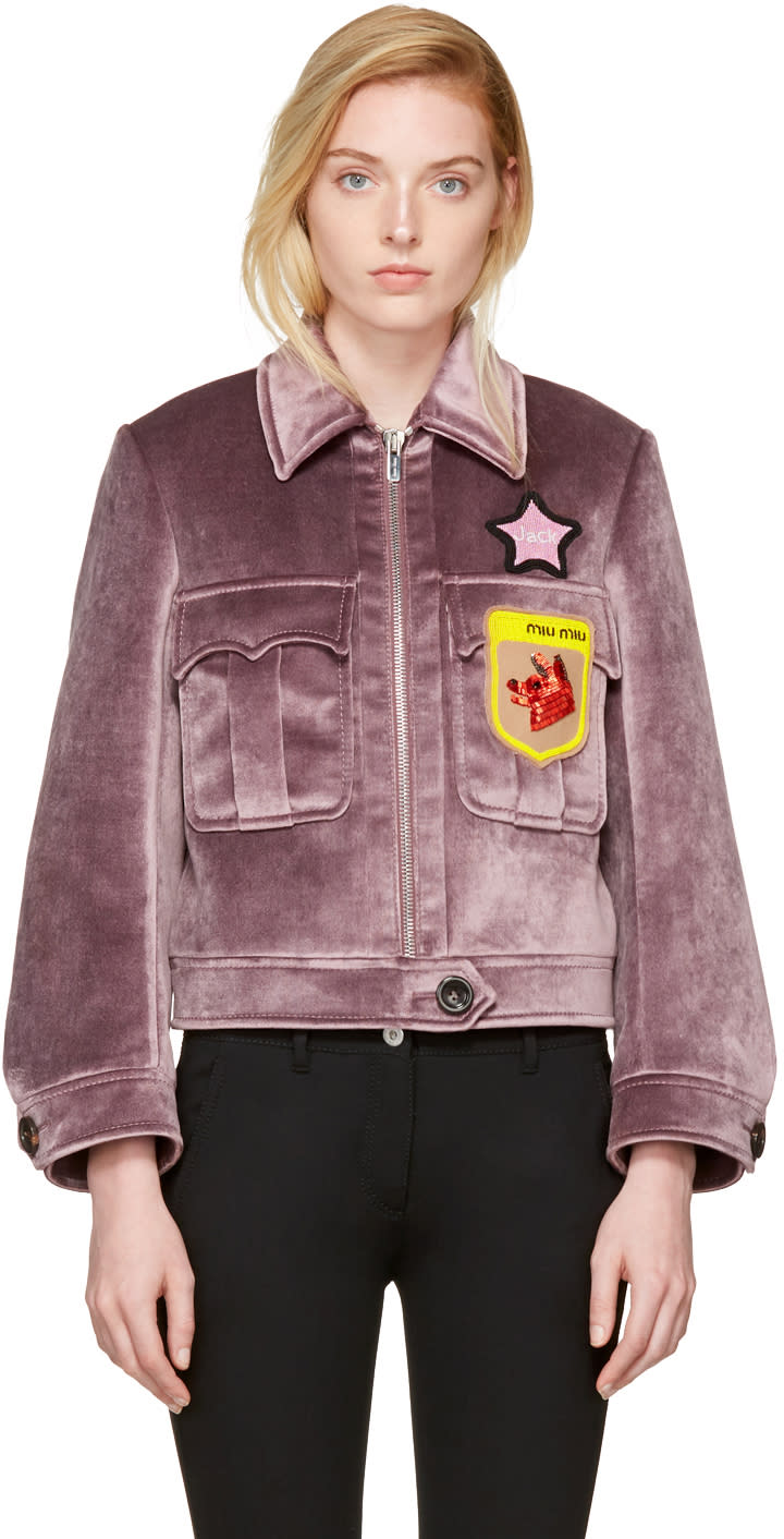 Miu Miu Purple Velvet Fox and Jack Jacket