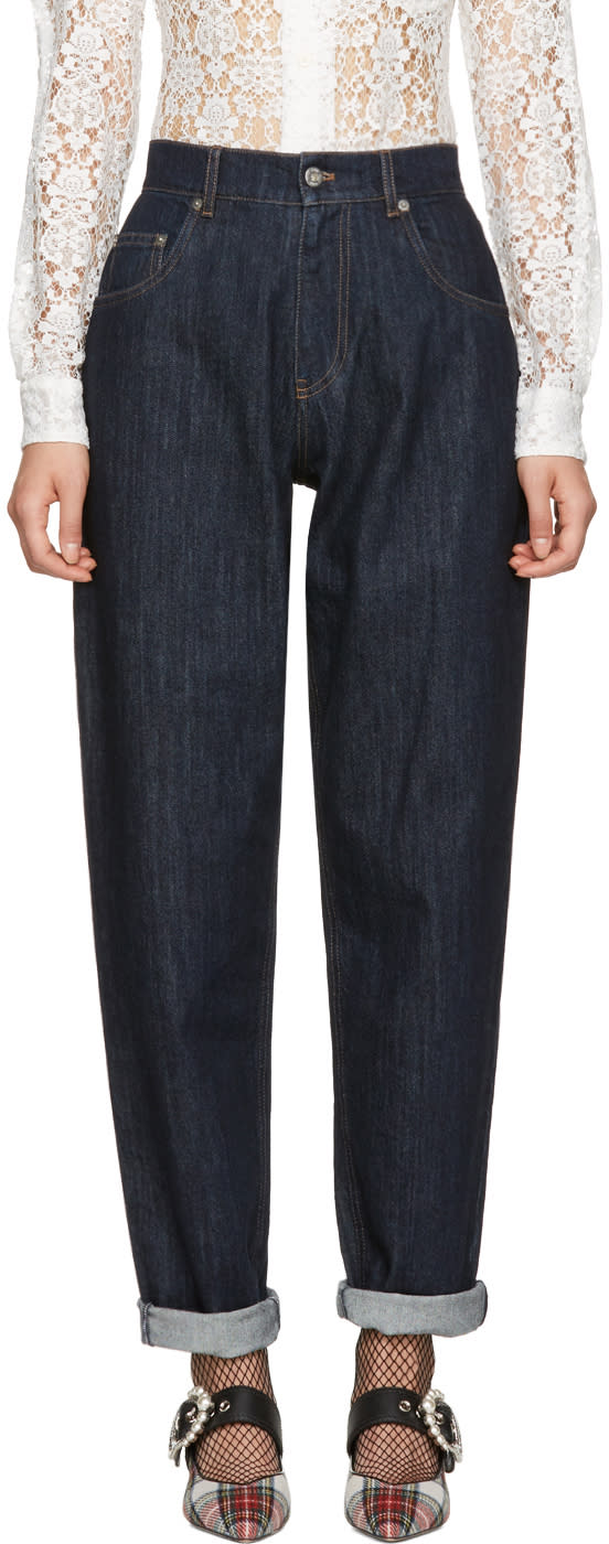 Miu Miu Navy Denim Patch Jeans