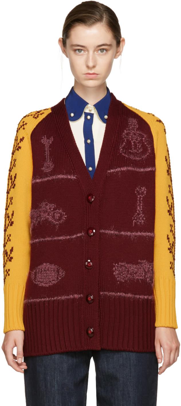 Miu Miu Red and Yellow Oversized Wool Cardigan