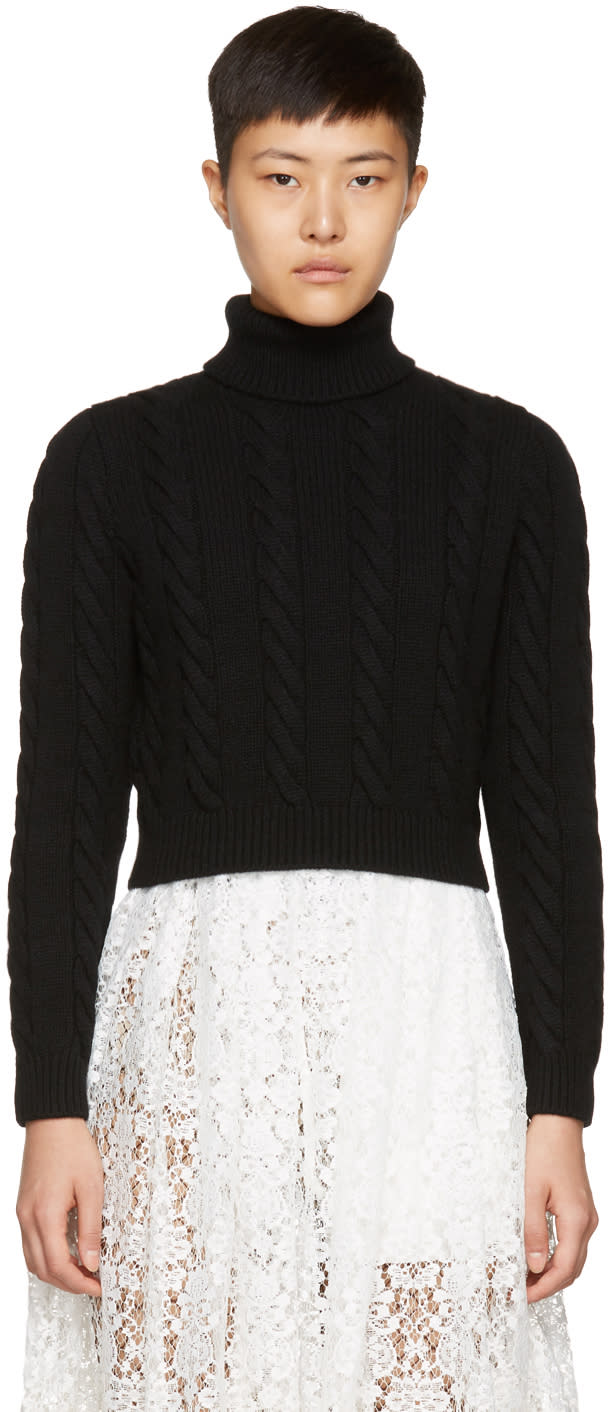 Image of Miu Miu Black Cropped Turtleneck