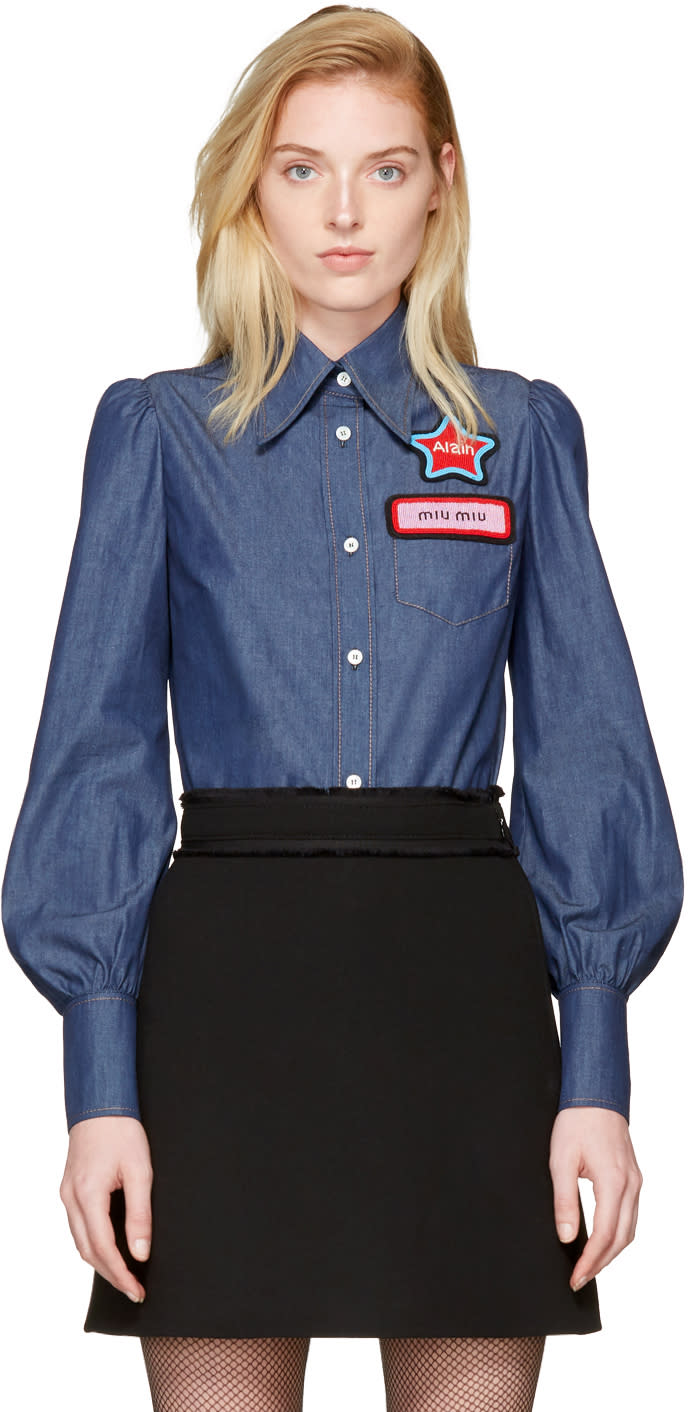 Miu Miu Blue Chambray Patches Shirt