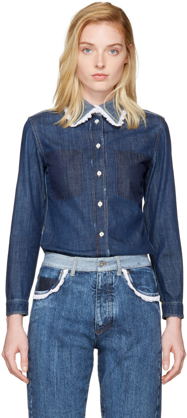 Miu Miu Indigo Denim Lace Collar Shirt