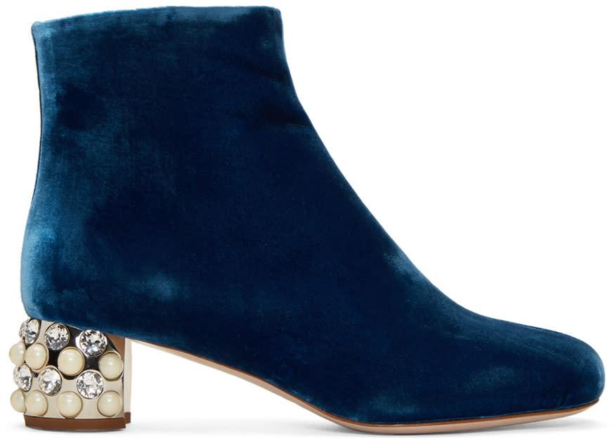 Miu Miu Blue Velvet Pearl and Crystal Boots