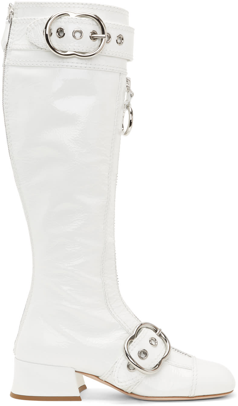 Miu Miu White Patent Buckle Boots