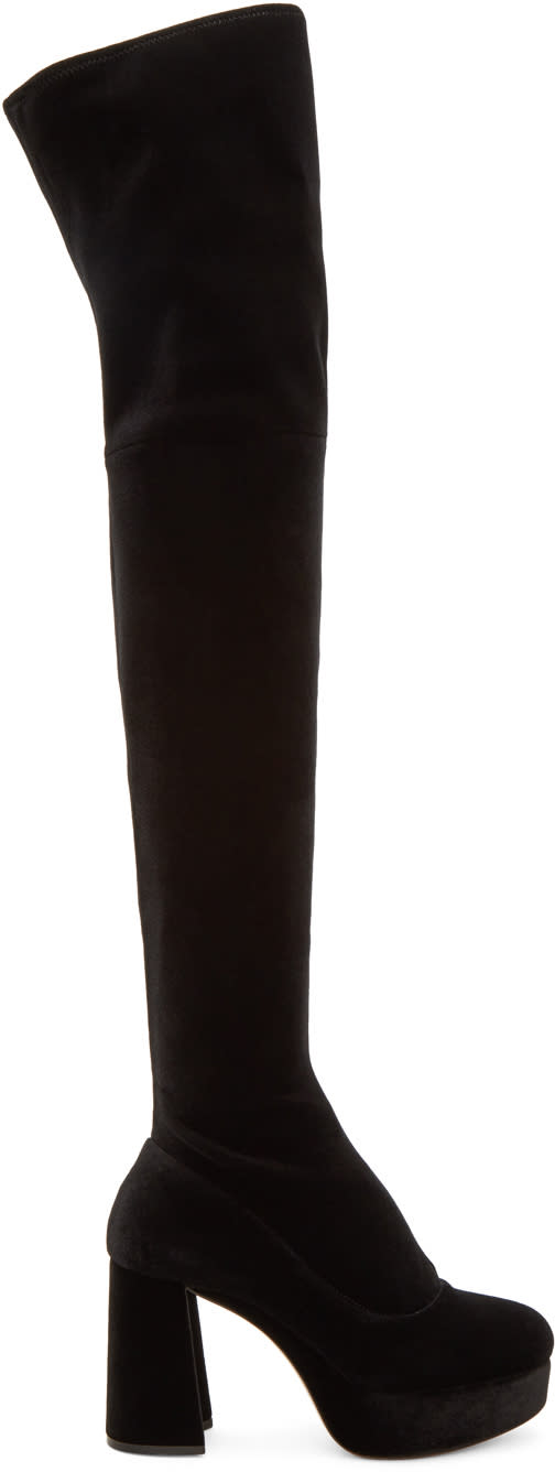 Miu Miu Black Velvet Platform Over-the-knee Boots