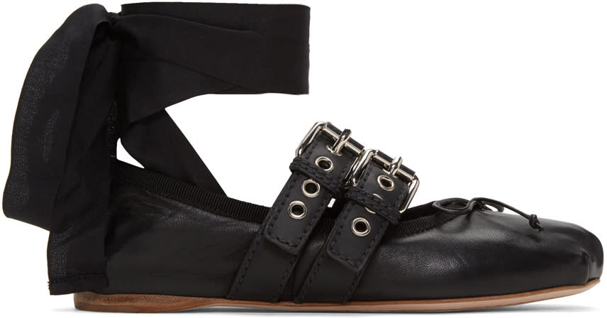 Miu Miu Black Double Buckle Ballerina Flats