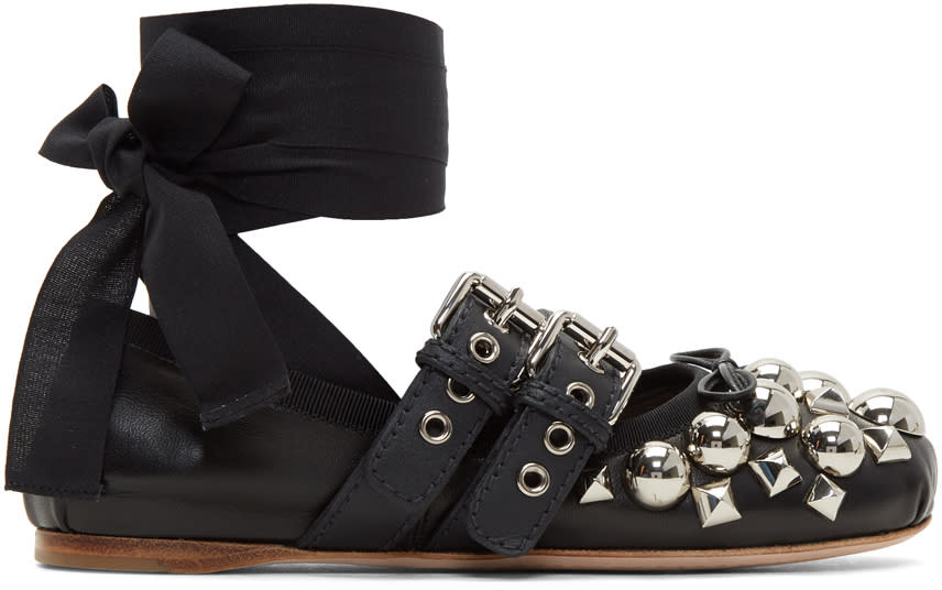 Miu-Miu-Black-Studded-Double-Buckle-Ballerina-Flats