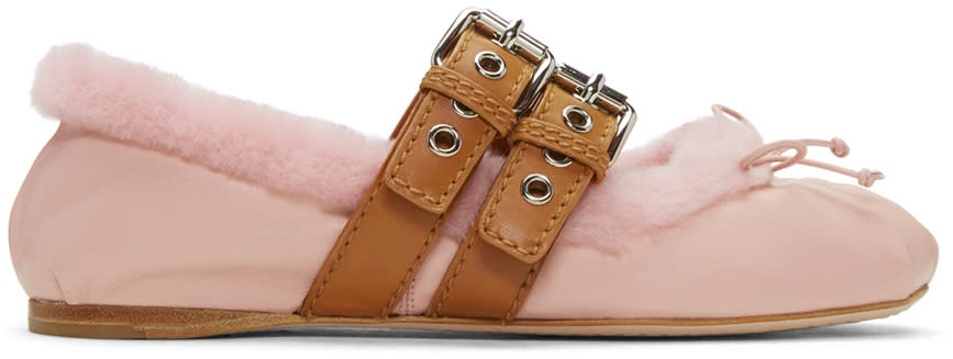 Miu Miu Pink Shearling Double Buckle Ballerina Flats