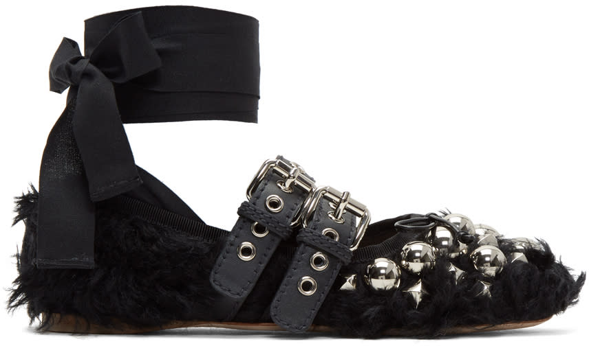 Miu-Miu-Black-Eco-Shearling-Double-Buckle-Ballerina-Flats