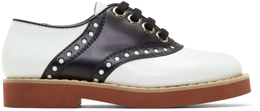 Image of Miu Miu Black and White Bicolor Saddle Shoes