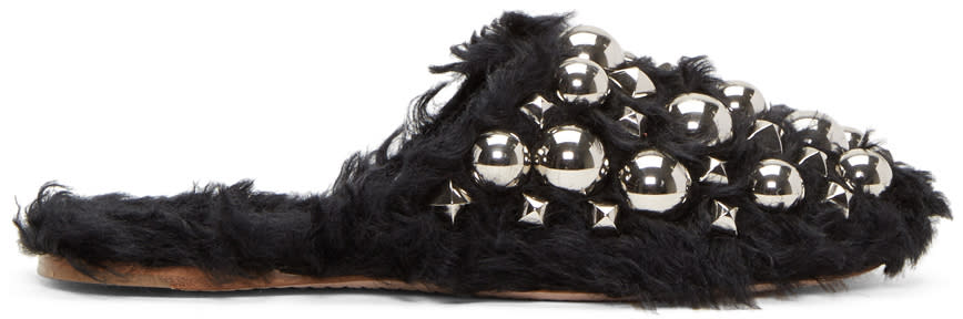 Image of Miu Miu Black Eco Shearling Studded Mules