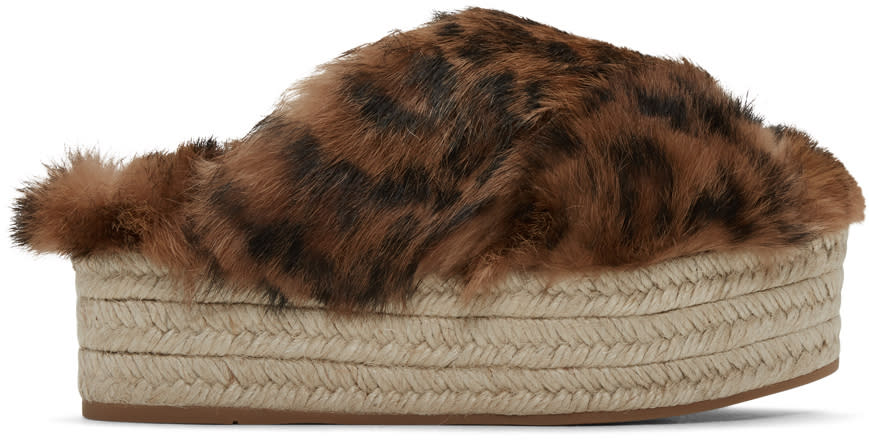 Miu Miu Brown Leopard Fur Cross Sandals