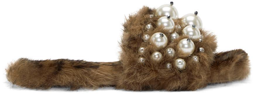 Miu Miu Brown Leopard Fur Pearl Slides