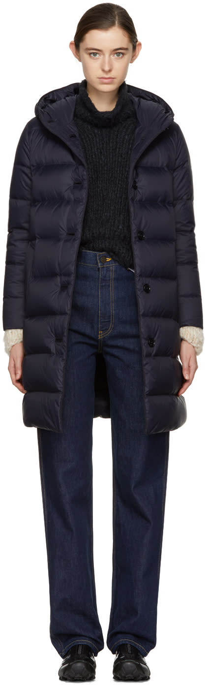 Image of Mackintosh Navy Down Long Coat
