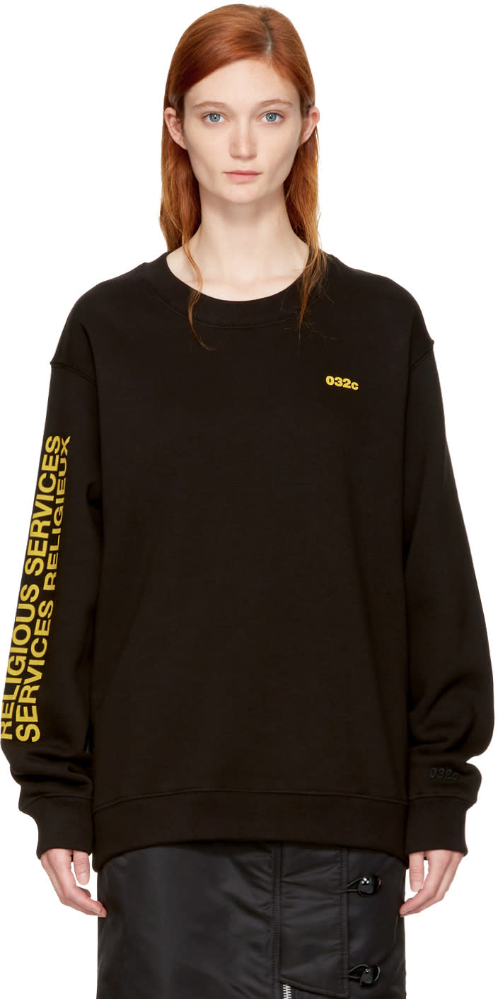 032c Ssense Exclusive Black religious Services Sweatshirt