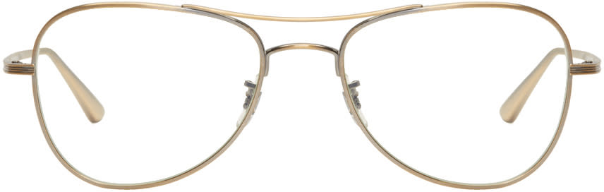 e099d9d1f9 Oliver Peoples The Row Gold Executive Suite Aviator Glasses