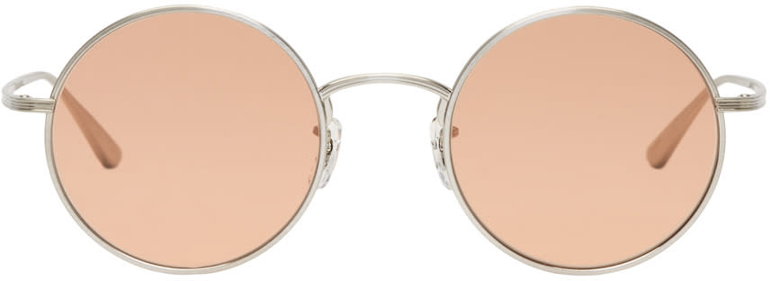 Image of Oliver Peoples The Row Silver and Pink After Midnight Sunglasses