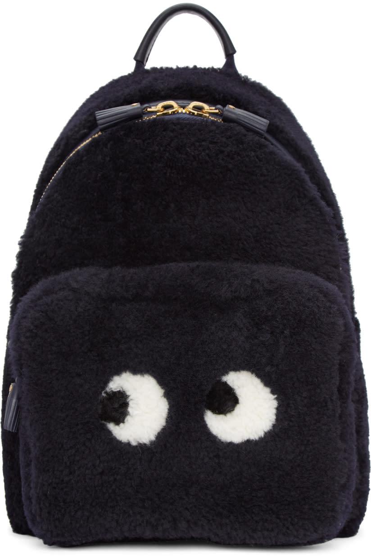 Image of Anya Hindmarch Navy Shearling Mini Eyes Right Backpack