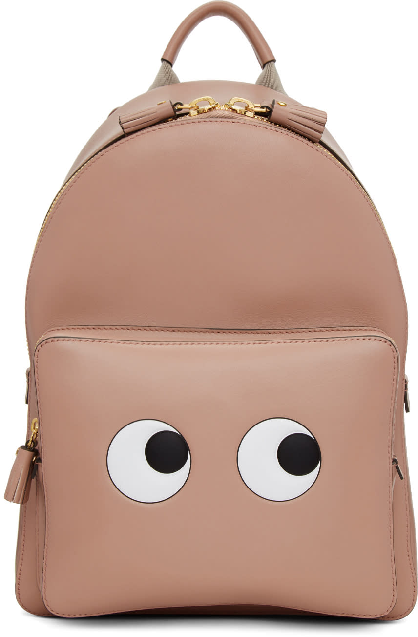 Image of Anya Hindmarch Pink Mini Eyes Right Backpack