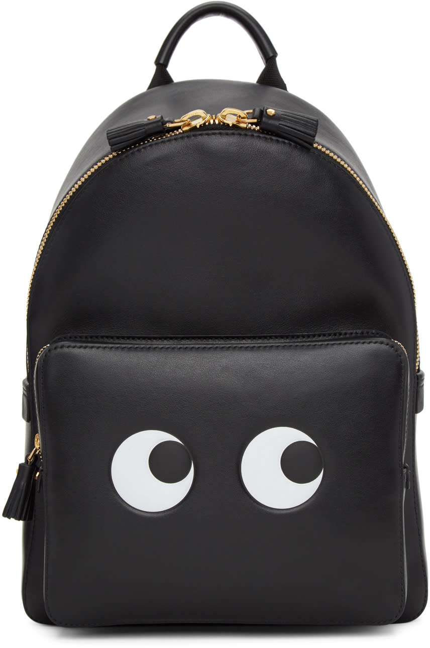 Image of Anya Hindmarch Black Mini Eyes Right Backpack