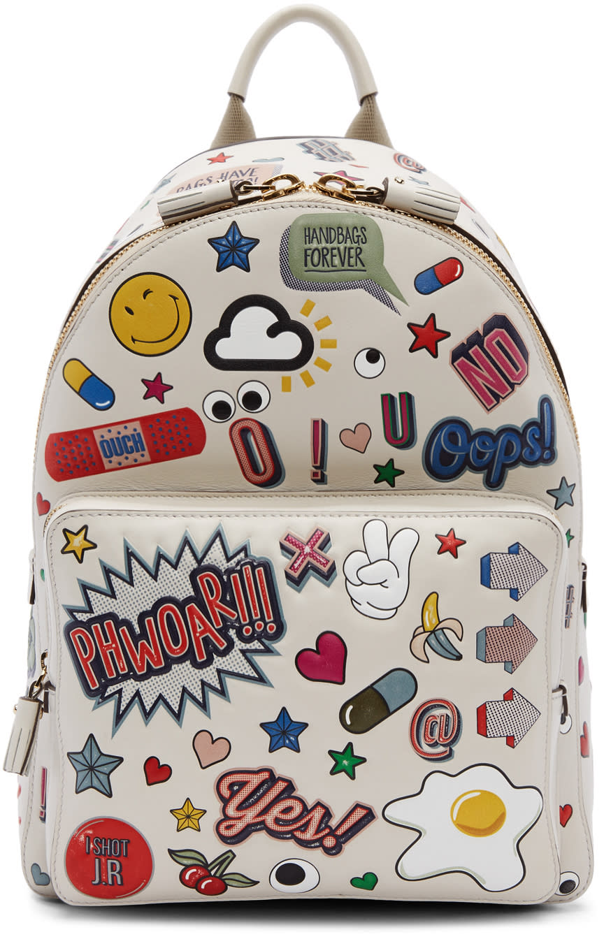 Image of Anya Hindmarch Off-white Mini All-over Stickers Backpack