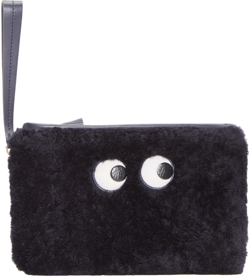 Image of Anya Hindmarch Navy Shearling Eyes Zip Pouch