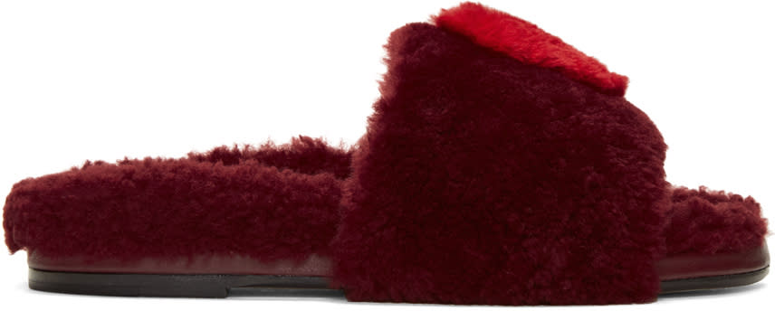 Image of Anya Hindmarch Burgundy Shearling Heart Slides