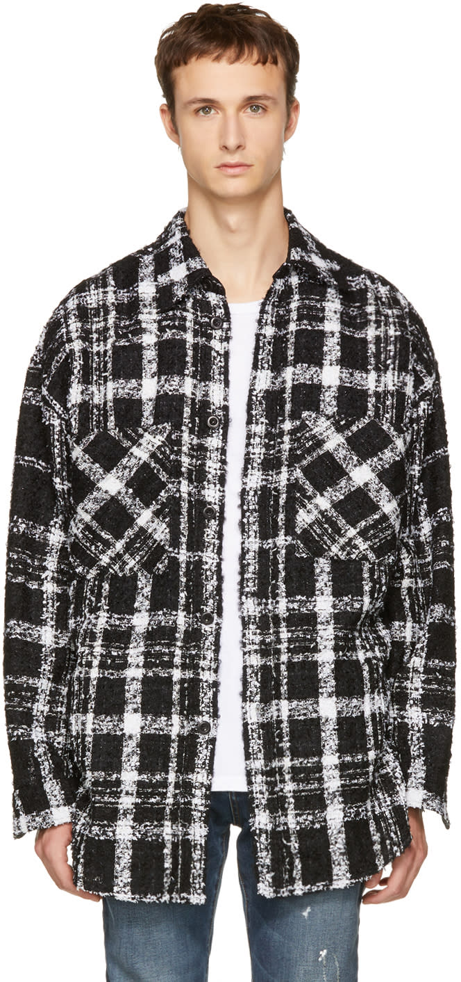 Image of Faith Connexion Black and White Check Overshirt