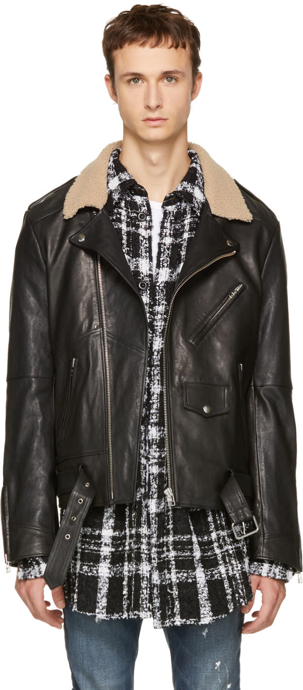Image of Faith Connexion Black Leather Shearling Collar Jacket