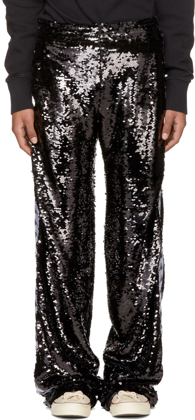 Image of Faith Connexion Black Kappa Edition Sequin Trousers