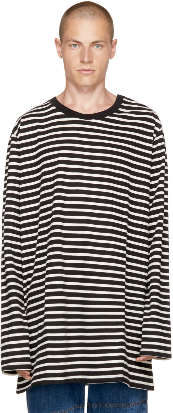 Image of Faith Connexion Black and Off-white Striped Sailor T-shirt