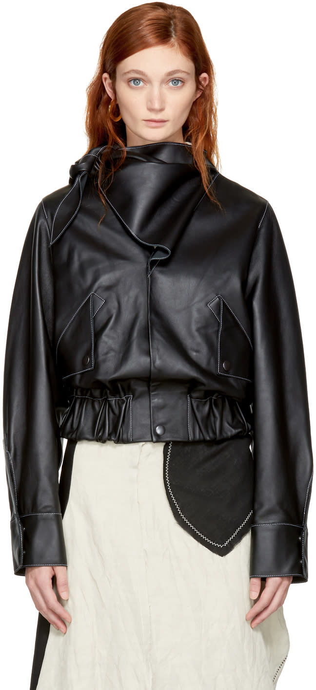 Image of Vejas Black Leather Handkerchief Necktie Jacket