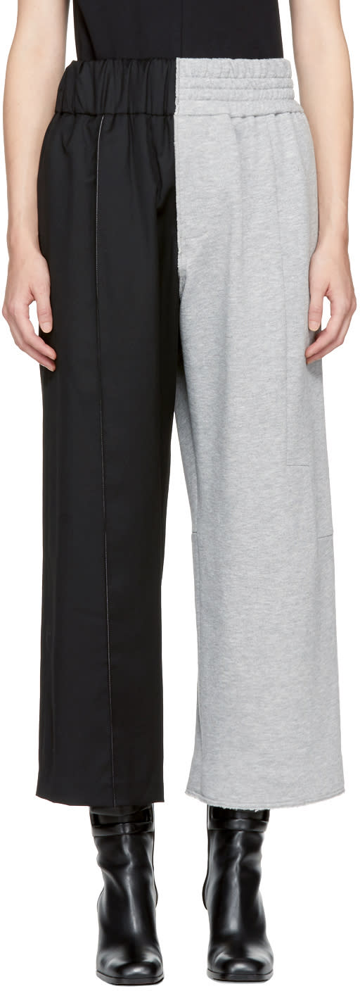 Image of Vejas Black and Grey Half and Half Trousers