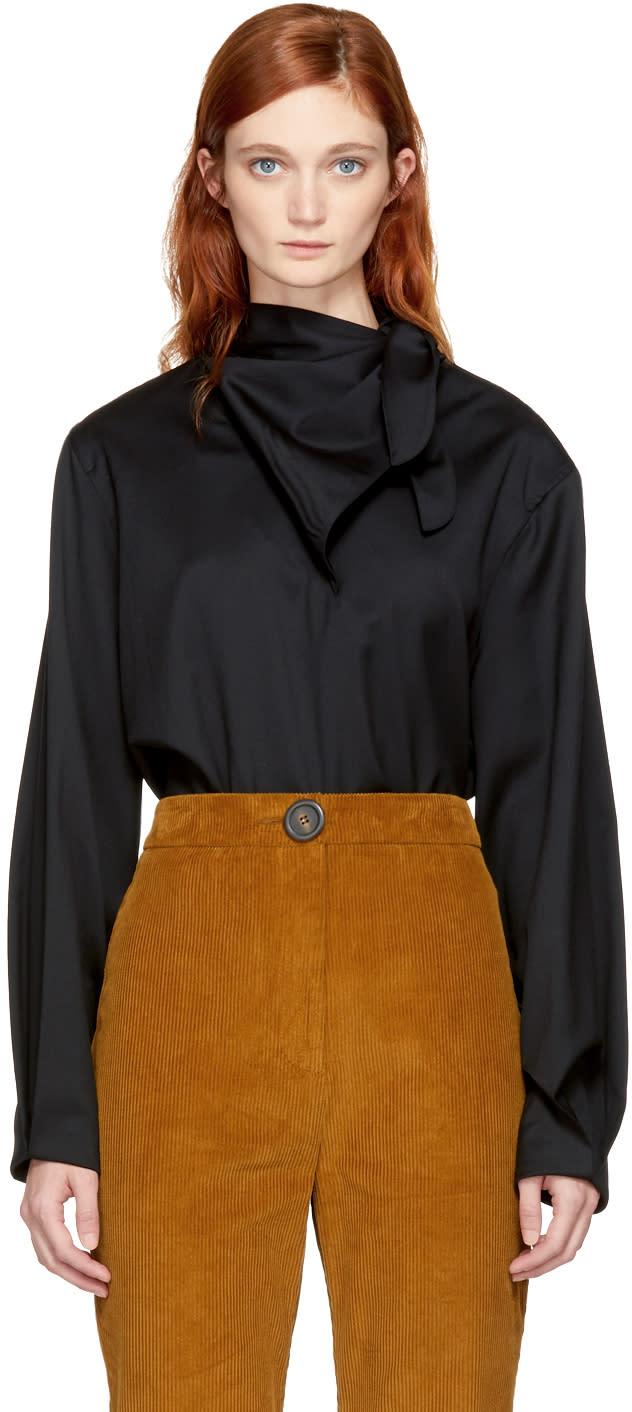 Image of Vejas Black Gabardine Handkerchief Tie Blouse
