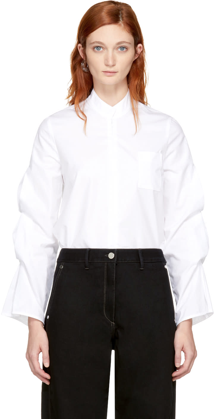 Image of Vejas White Gathered Puff Sleeve Blouse