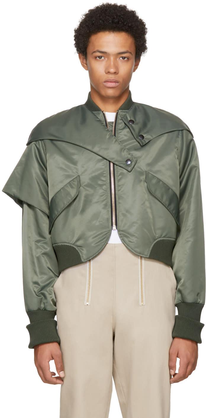 Image of Vejas Green Asymmetric Flap Bomber Jacket