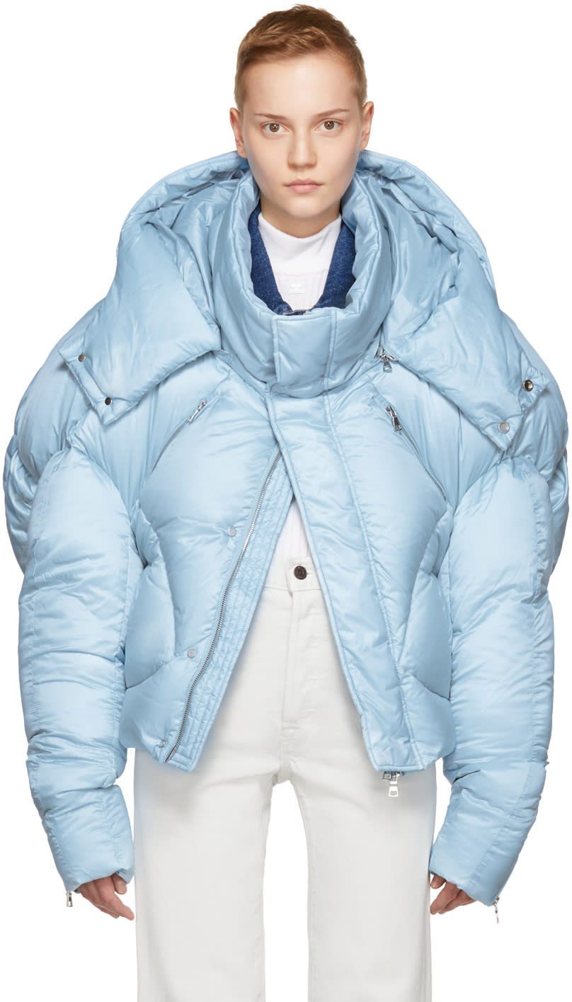 Image of Chen Peng Ssense Exclusive Blue Short Quilted Puffer Jacket