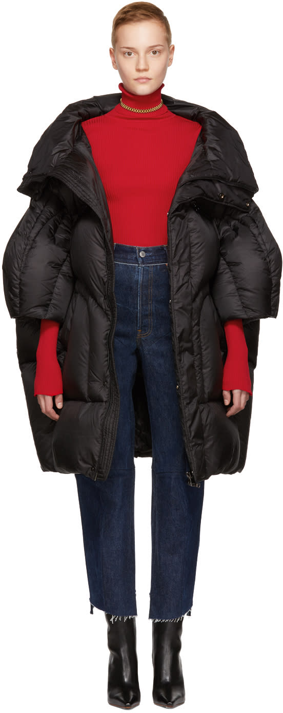 Image of Chen Peng Black Long Quilted Puffer Jacket