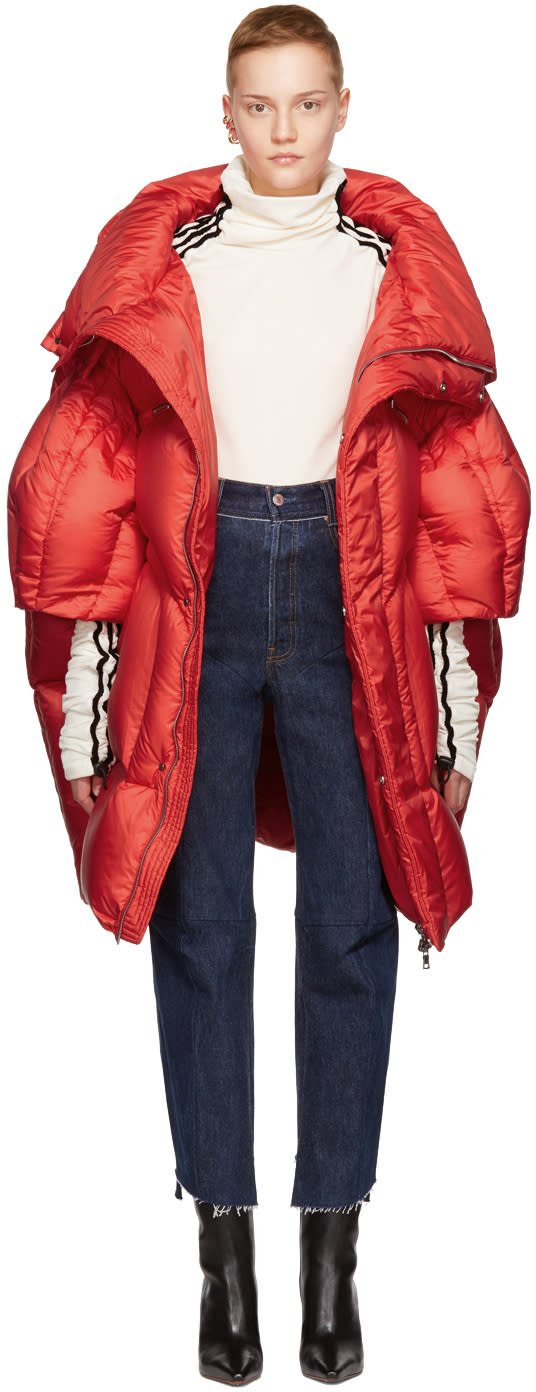 Image of Chen Peng Red Long Quilted Puffer Jacket
