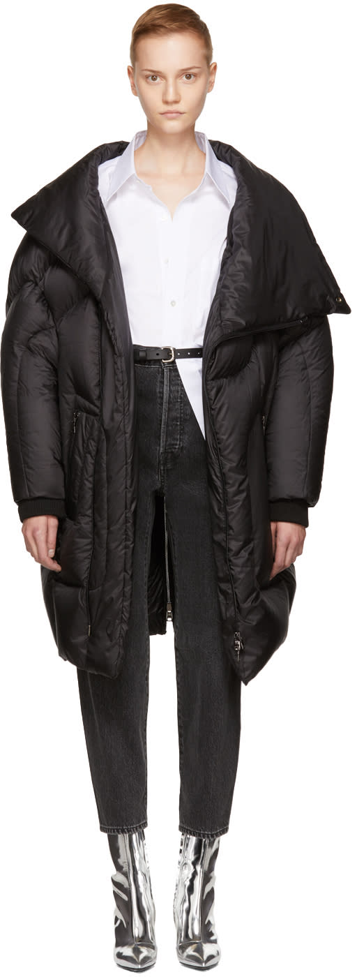 Image of Chen Peng Black Long Funnel Puffer Jacket