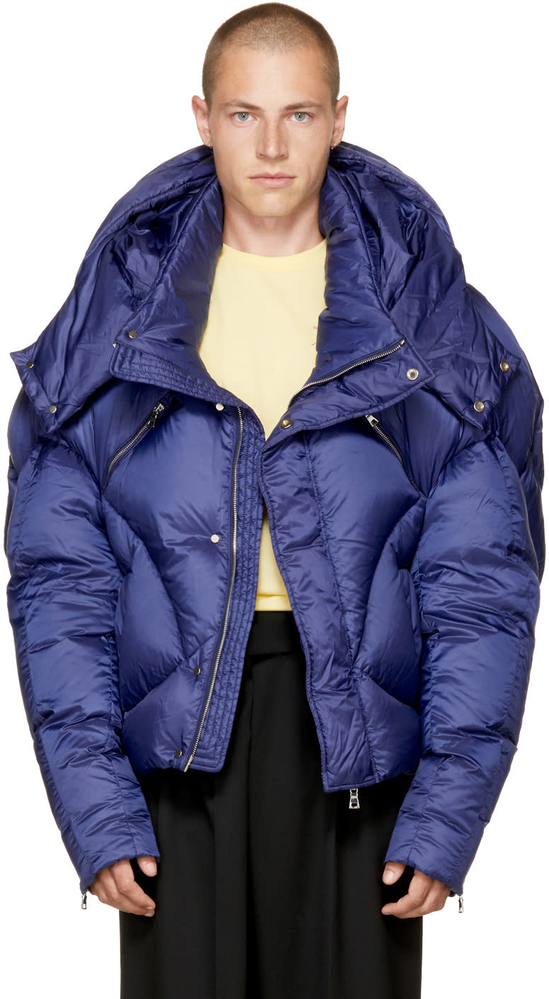 Image of Chen Peng Navy Short Quilted Puffer Jacket