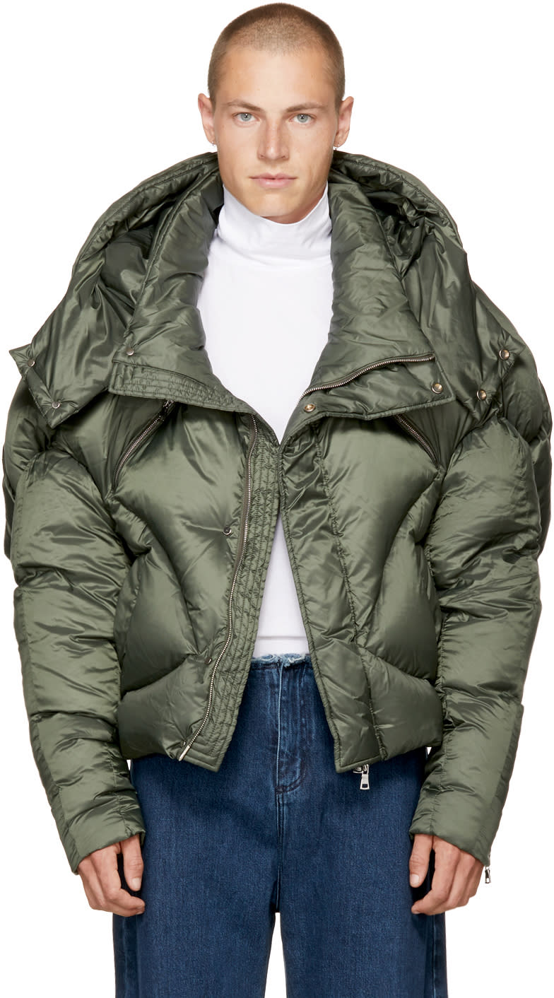 Image of Chen Peng Green Short Quilted Puffer Jacket