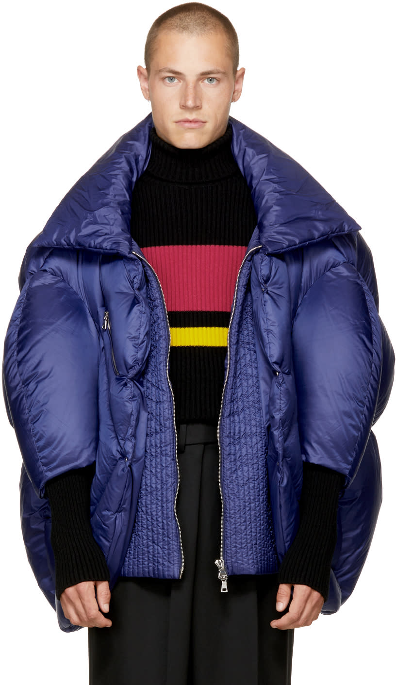 Image of Chen Peng Navy Collared Puffer Jacket
