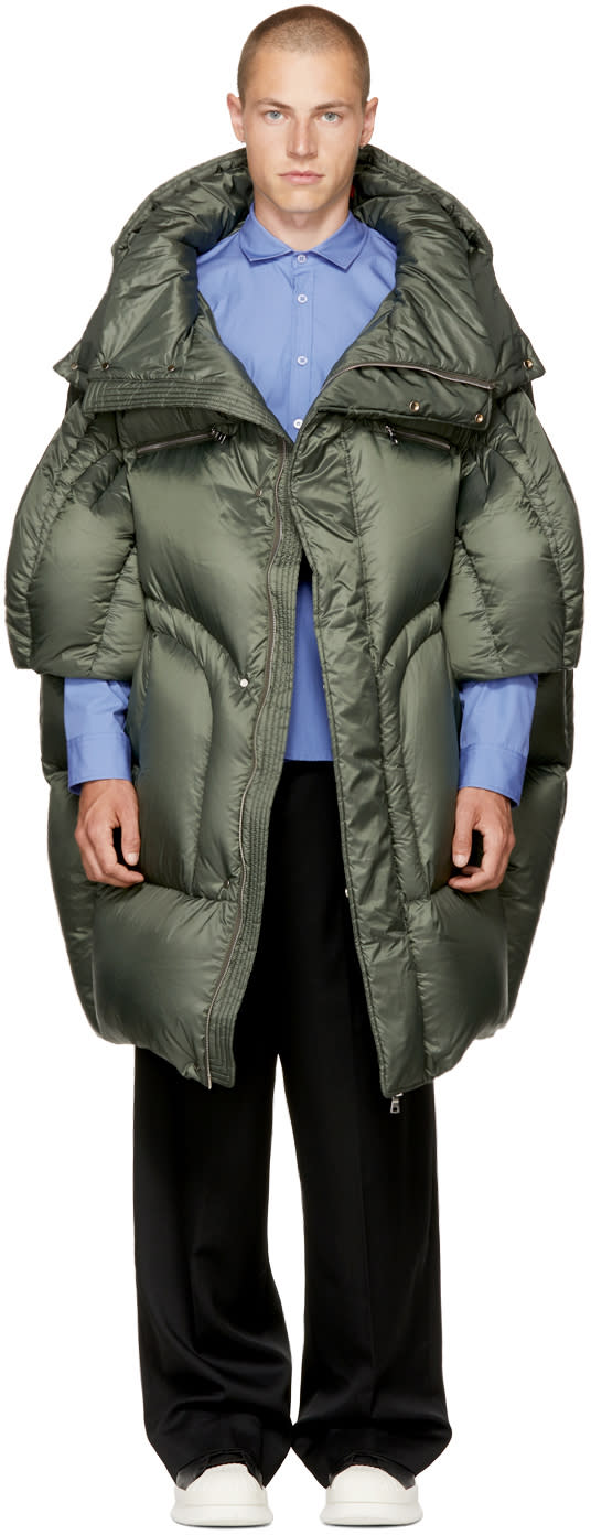 Image of Chen Peng Green Long Quilted Puffer Jacket