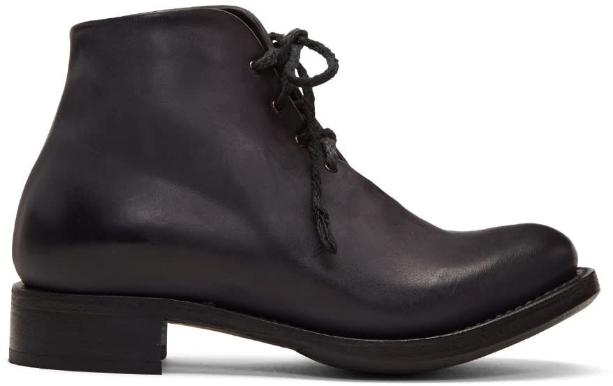 Image of Cherevichkiotvichki Black Nubuck One-piece Goodyear Boots