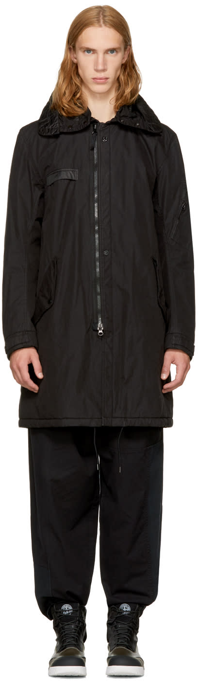 Image of Stone Island Shadow Project Black Long Jacket